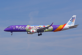 "ERJ 190-200LR - Flybe British European ""Purple livery and design by Cancer Research UK Kids and Teens Childrens Charity"""